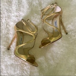 ✨🌟💫Jimmy Choo Gold Strappy Ankle Strap Shoes✨💫✨